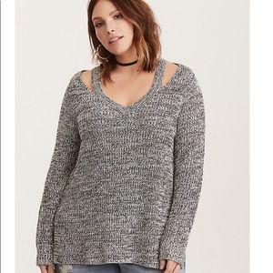 Torrid Marbled Knit Split Neck Sweater